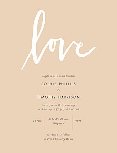 Love letters pink wedding invitations