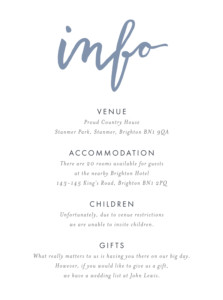 Guest Information Cards Love letters blue