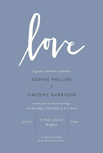 Wedding Invitations Love letters (small) blue finition