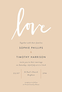 Love letters (small) pink orange wedding invitations