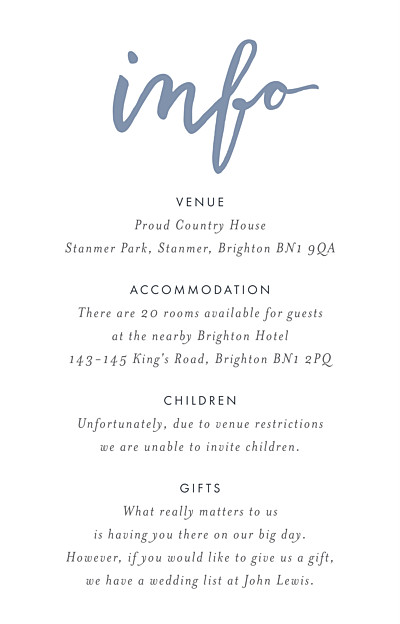 Guest Information Cards Love letters (small) blue finition
