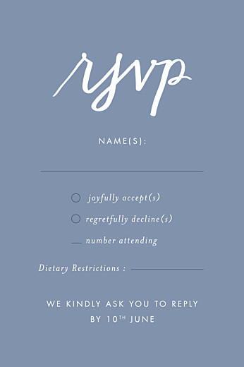 RSVP Cards Love letters (small) blue