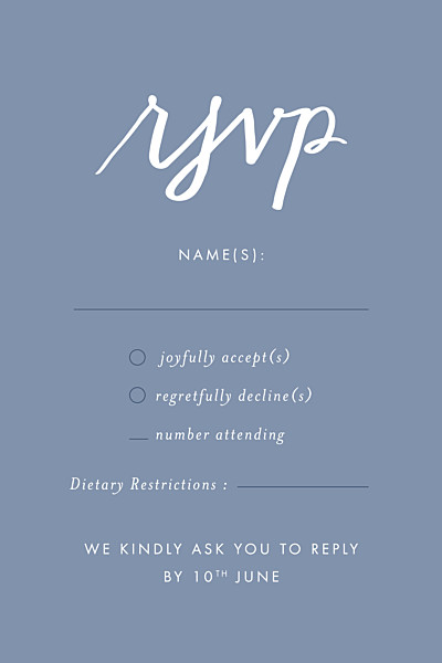 RSVP Cards Love letters (small) blue finition