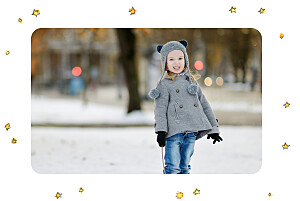 Christmas Cards Winter storybook (4 pages) blue