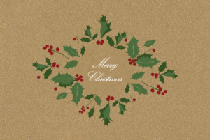 Christmas Cards Boughs of holly sand