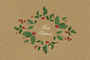 Boughs of holly sand green christmas cards