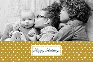 Starry holiday gold christmas cards