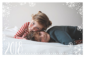 Snow day (4 pages) white & blue photo christmas cards
