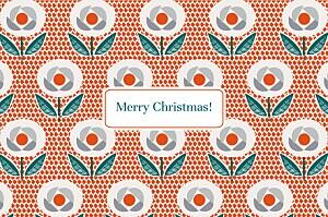Retro flowers red orange christmas cards