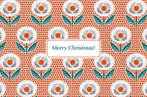 Christmas Cards Retro flowers red