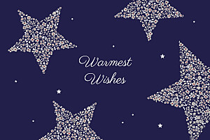 Liberty stars midnight blue christmas cards