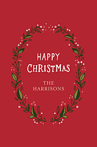 Christmas Cards Festive wreath (4 pages) red