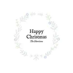 Rustic christmas crown (foil) blue foil christmas cards