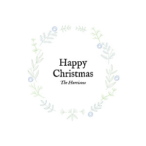 Rustic christmas crown (foil) blue tomoë  christmas cards
