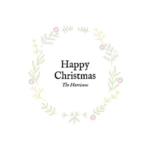 Rustic christmas crown (foil) pink pink christmas cards