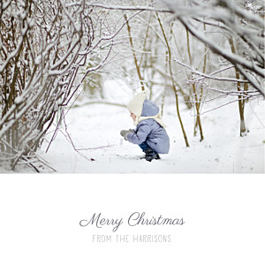 Starry ribbon (foil) grey christmas cards
