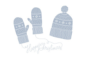Christmas Cards Bundled up (4 pages) blue
