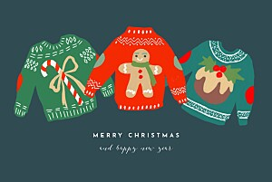 Christmas jumper (4 pages) blue black christmas cards