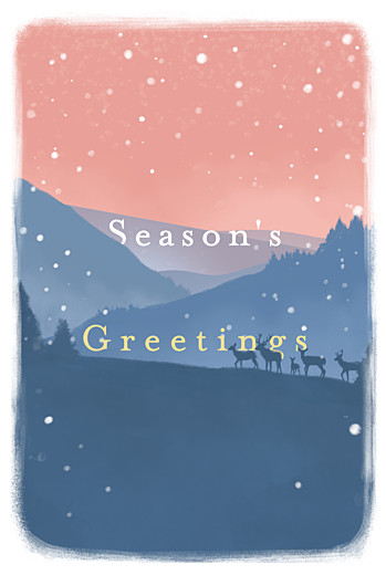 Christmas Cards Winter morning (4 pages) blue pink