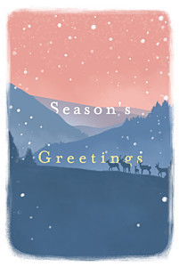 Winter morning blue pink christmas cards