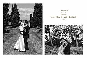 Provence kraft multi photo wedding thank you cards