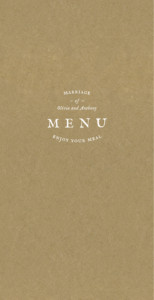 Wedding Menus Provence kraft