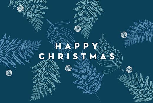 Christmas Cards Festive ferns (foil) blue
