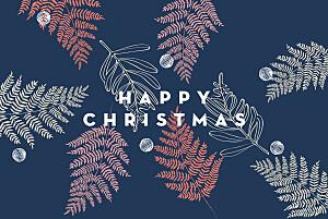 Festive ferns (foil) pink blue christmas cards