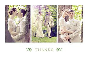 English garden green multi photo wedding thank you cards