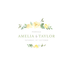 English garden green yellow wedding invitations