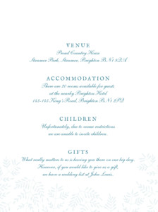 Guest Information Cards Fern foray blue