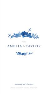 Wedding Menus English garden blue