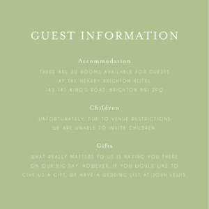 Guest Information Cards English garden green