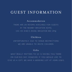 Guest Information Cards English garden blue