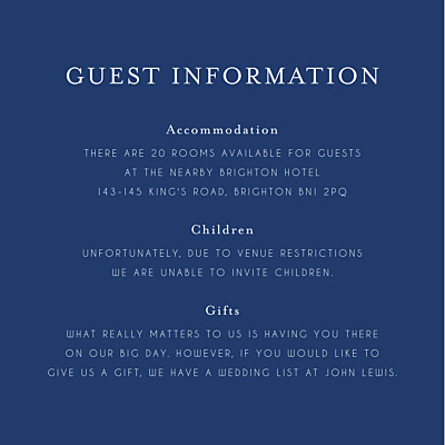 Guest Information Cards English garden blue finition