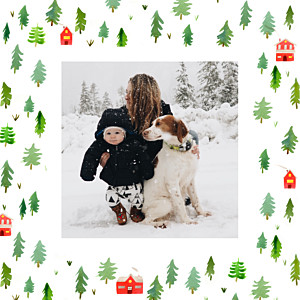 Evergreen green red photo christmas cards