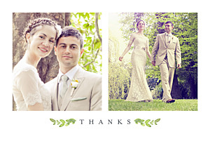 Petite alma  canopy green wedding thank you cards