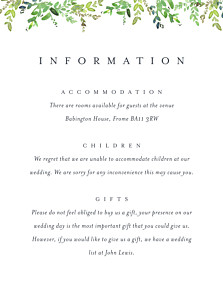Guest Information Cards Canopy green