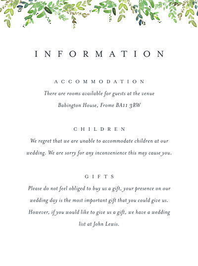 Guest Information Cards Canopy green finition