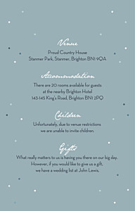 Summer night blue guest information cards