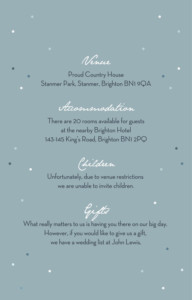 Guest Information Cards Summer night blue