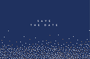 Confetti blue save the date cards