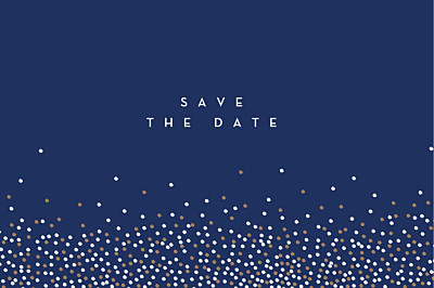 Save The Date Cards Confetti blue finition