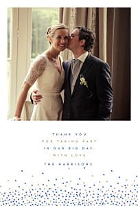 Confetti blue & white tomoë  wedding thank you cards