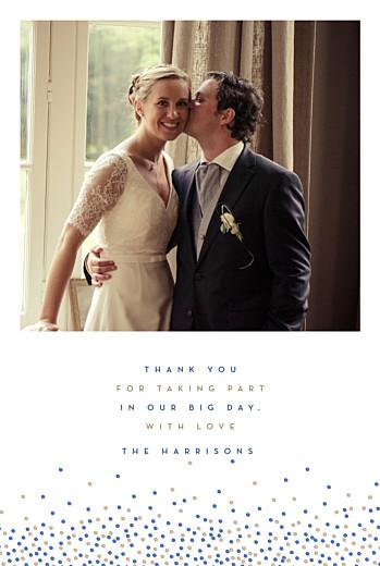 Wedding Thank You Cards Confetti blue & white