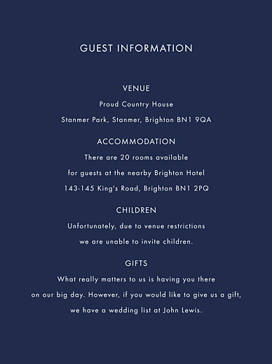 Guest Information Cards Sparks fly navy blue