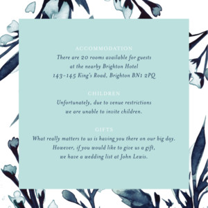 Guest Information Cards Midnight blue blue