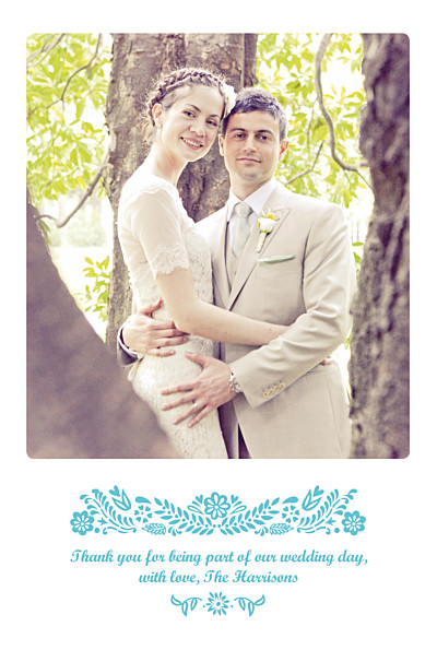 Wedding Thank You Cards Papel picado blue finition