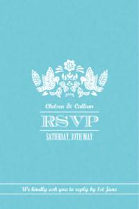 RSVP Cards Papel picado blue