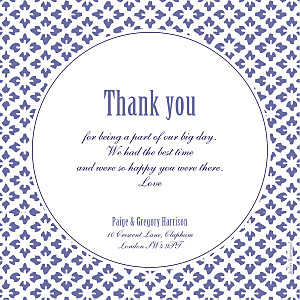 Radiance indigo purple wedding thank you cards